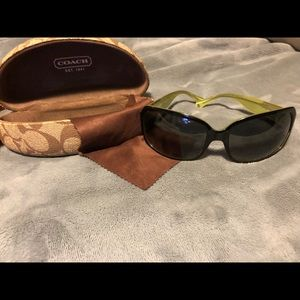 Black and green oversized coach sunglasses
